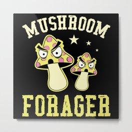 Mushroom Forager Vegetables Cuisine Wood Metal Print