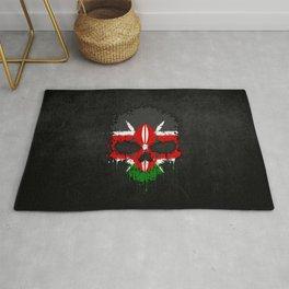 Flag of Kenya on a Chaotic Splatter Skull Rug