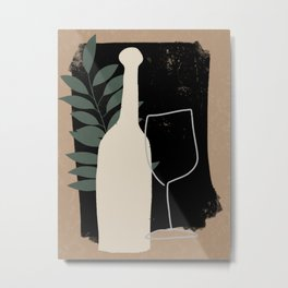 Wine Bottle and Glass Still Life Painting Metal Print