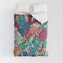 Orange Protea Bouquet Australian Wildflower Still Life Painting Comforters