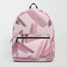 Pink Rose Gold Paint Glitter Brushstrokes Pattern Backpack