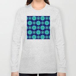 Hanukkah Jewish Star Contemporary Geometric Pattern Long Sleeve T-shirt