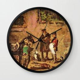 Rider With Horse In The Yard - Carl Spitzweg Wall Clock