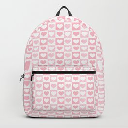 Bubblegum Pink & White Valentines Love Heart Check Sketch Backpack