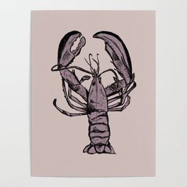 Pink Lobster Illustration Poster