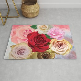 Rose Garden - Floral Spring Summer Roses Design Rug