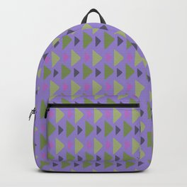 Geometrical purple green hand painted triangles pattern Backpack