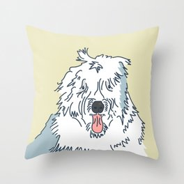 Scampy the Old English Sheep Dog Throw Pillow