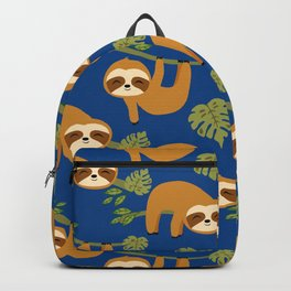 Cute Sloths on Blue, Baby Sloth Hanging Backpack