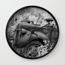 Rusting Pickup with Tree Grown in Cab Black and White Infrared Wall Clock