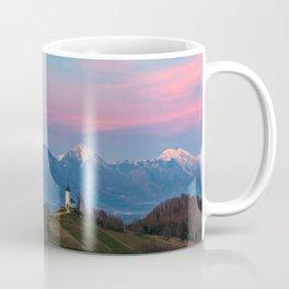 Sunset at Saint Primus in Jamnik, Slovenia Coffee Mug