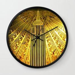 Empire State Building Lobby Art-Deco Sunburst Portrait Wall Clock