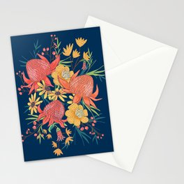 Australian Florals on Blue Stationery Cards