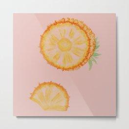Pineapple on pink Metal Print