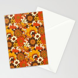 Retro 70s Flower Power, Floral, Orange Brown Yellow Psychedelic Pattern Stationery Cards