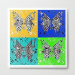 Pop Art Textured Superfly Butterfly Print Metal Print