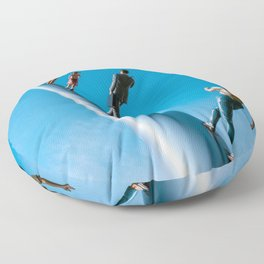 Walking To The Sky Blue Print Floor Pillow