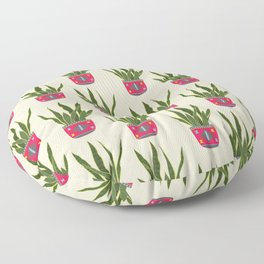 Potted Snake Plant, Modern Hand-painted Acrylic Plants in Colorful Tribal Bohemian Pots Series Floor Pillow