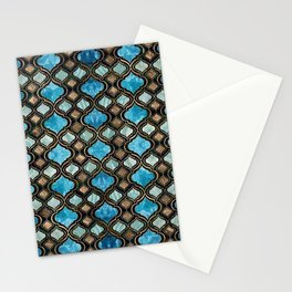 Moroccan trellis Blue Crystal Textures Stationery Cards