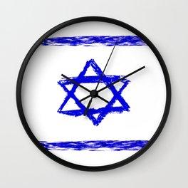flag of israel 8-יִשְׂרָאֵל ,israeli,Herzl,Jerusalem,Hebrew,Judaism,jew,David,Salomon. Wall Clock
