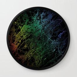 Birmingham, AL, USA, City, Map, Rainbow, Ma Wall Clock