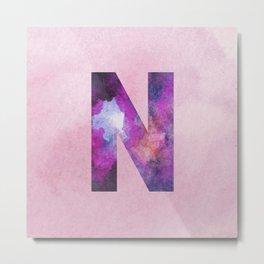 Pink Space Galaxy Initial Monogram Letter N Metal Print