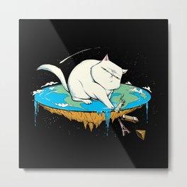 Flat Earth Cat Metal Print