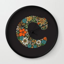 Hippie Floral Letter C Wall Clock