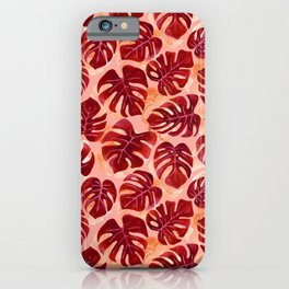 Tropical Leaves Watercolour | Red iPhone Case