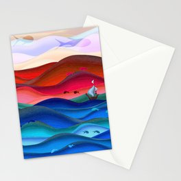 Blue ocean red mountains Stationery Cards