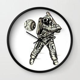 Space Baseball Astronaut Wall Clock