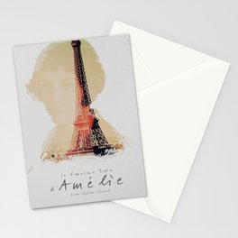 Amelie, minimalist movie poster, french film playbill, the fabulous life of Amélie Poulain, Stationery Cards