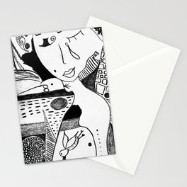 Emotional Black and White Drawing: 'The Fish' Stationery Cards
