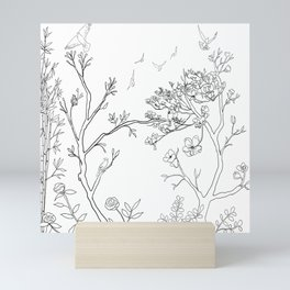 Color Your Own Chinoiserie Panels 1-2 Contour Lines - Casart Scenoiserie Collection Mini Art Print