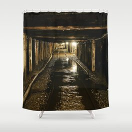 Rail tracks within 1500 feet of underground passages at the Beckley Exhibition Coal Mine Shower Curtain
