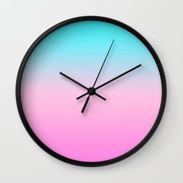 Simple modern summer beach bright teal pink ombre gradient pattern Wall Clock