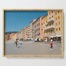 Amalfi, pastel dream houses with kids playing   Mediterranean Coast, Italy   Colorful travel photography in Europe   Horizontal art print Serving Tray