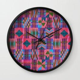 Kente Cloth // Summer Sky & Venetian Red Wall Clock