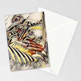 1177s-AK Erotica in the Style of Kandinsky Fingers on Pubis Striped Nude Stationery Cards