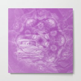 wreck exploding from fracture purple fractal Metal Print