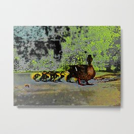 Moma and Her Ducklings Metal Print