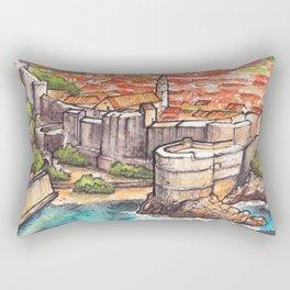 Dubrovnik Croatia ink & watercolor illustration Rectangular Pillow