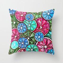 Citruses, Oranges, Lemons, Limes. Watercolor pattern Throw Pillow
