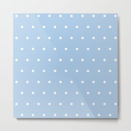 Light Blue And White Dots Metal Print