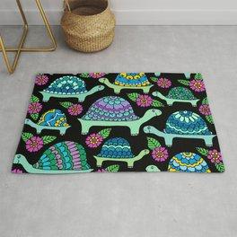 Colorful Tortoises Black Palette Rug
