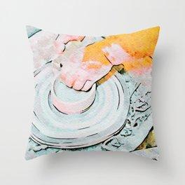 Hands of the ceramist craftsman Throw Pillow