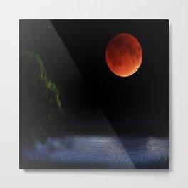 Red Moon Night Metal Print
