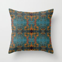 The Spindles- Blue and Orange Filigree  Throw Pillow