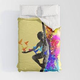 Ballet dancer dancing with flying birds Comforters