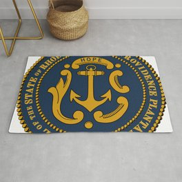 Rhode Island and Providence Plantations Hope and Anchor art portrait  Rug